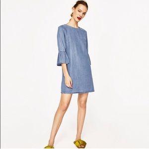 Zara Denim Dress With Frills ❣️